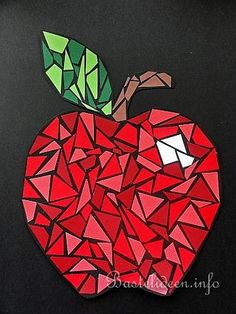 Basteln mit Kindern - Mosaik Apfel aus Papier
