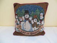 Pillow Holiday Xmas Christmas Winter Petite Point Snowmen Square