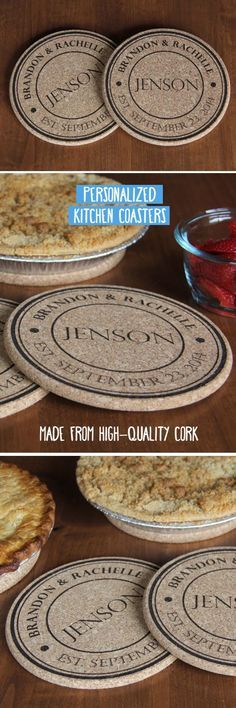 Your kitchen is the heart of your home, and nothing makes it more fun than our Personalized Large Kitchen Hot Pads. The large diameter protects your counter or tabletop from hot items. Made from high quality cork, these will last a very long time. This deal includes two identical personalized Large Kitchen hot pads. Simply let us know the first names, last name and wedding or anniversary date (if applicable) you would like on your hot pads, and we'll do the rest!