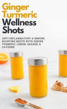 Ginger Turmeric Wellness Shot recipe with lemon, cayenne, and orange. A powerful… Ginger Turmeric Wellness Shot recipe with lemon, cayenne, and orange. A powerful anti-inflammatory and immune boosting tonic! Healthy Juice Recipes, Juicer Recipes, Healthy Juices, Healthy Smoothies, Healthy Drinks, Smoothie Recipes, Superfood Recipes, Healthy Detox, Juice Cleanse Recipes