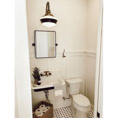 Bathroom decor for your master bathroom renovation. Discover master bathroom organization, master bathroom decor tips, bathroom tile some ideas, bathroom paint colors, and more. Half Bathroom, Bathroom Interior, Small Bathroom, Bathrooms Remodel, Bathroom Decor, Tiny Bathroom, Bathroom Design, White Bathroom, Barn Lighting