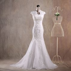 Double-shoulder 2013 fashion lace train wedding dress handmade diamond decoration beaded fish tail wedding dress formal dress US $160.00 - 165.00