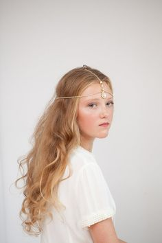 Forehead band Bohemian Bridal Headpiece, Gold and crystal headchain, indian style headpiece, luxury hippy 1970s Bride on Etsy, $93.13