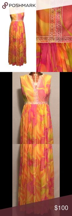 """Vintage 1960s Mod Maxi Dress CHEST SIZE: 32"""" WAIST SIZE: 26"""" HIP SIZE: 38"""" SHOULDER TO SHOULDER: n/a SHOULDER TO HEM: 52"""" WAIST TO HEM: 40.5""""  MATERIAL: rayon / polyester  TAGS: n/a handmade  This dress is in excellent vintage condition. There are no stains or flaws to the fabric. The metal zipper is in good working order, and the hook and eye fastener is attached and secure. Vintage Dresses"""