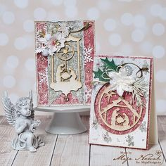 Such beautiful Christmas cards by Maja Nowak. <3 Papers from MajaDesign's latest collection - Joyous Winterdays.  #card #cardmaking #cardinspiration #papercraft #papercrafting #papercrafts #scrapbooking #majadesign #majadesignpaper #majapapers #inspiration #vintage