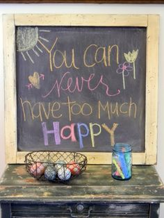 love the colored chalk and fun saying!
