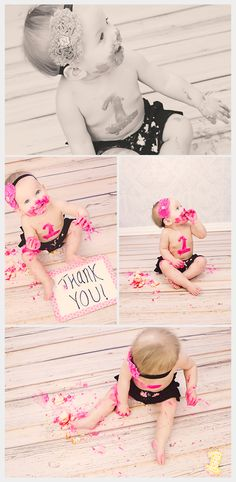 Little Girl One Year Cake Smash Photos - Deanne Mroz Photography