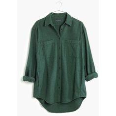 MADEWELL Flannel Sunday Shirt ($88) ❤ liked on Polyvore featuring tops, gallery green, green button down shirt, oversized flannel shirt, shirts & tops, long button down shirt and oversized shirt