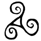 A triskele or triskelion is a Celtic symbol meaning progression and moving forward. Because of the three legs, it can mean a variety of things.  *spirit, mind, body *past, present, future *creation, preservation, destruction *mother, father, child All of these and more make this symbol so interesting
