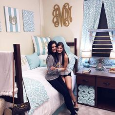 """We love how these roomies decked out their dorm in our """"Canal Blue and White Delight"""" sets  accessories!  #Repost @jessicamichellemonette  Thanks for checking under my bed for monsters one last time. I love you Victoria I'll see you soon"""