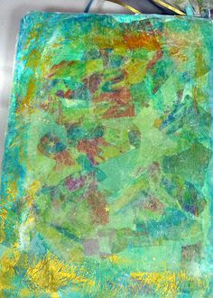 mixed media art journal background made with tissue paper and gold stars