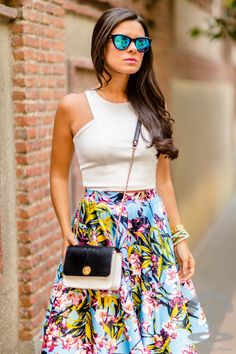 Tropical Midi Skirt falda Crimenes de la Moda