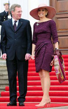 A Princesa Máxima, durante a visita oficial da família real holandesa à Alemanha, com o presidente da Alemanha Christian Wulff no Palácio presidencial de Bellevue (berlim 2011).