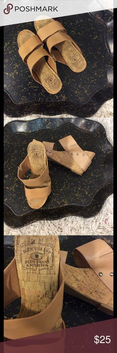 Lucky brand blue jeans America wedge shoes Lucky brand blue jeans America leather wedge with rivet detail side Very gently used condition 7 1/2 Length from heel to toe is 9 inches width is 3 inches Lucky Brand Shoes Wedges