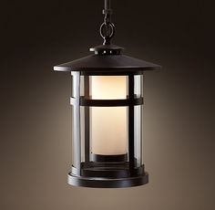 RH's Rutherford Pendant - Weathered Zinc:Etched, cased glass forms the inner shade of our Rutherford lantern-style fixture.