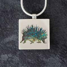 Echidna featuring Spiderweb Chrysocolla  - Hand-cut Reversible Sterling Silver Pendant Echidna, Monkeys, Armour, Silver Jewelry, Pendant Necklace, Gemstones, Jewellery, Sterling Silver, Handmade