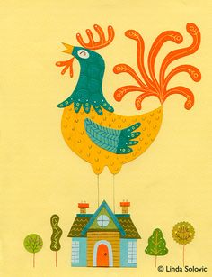 Arthur the Rooster Print 8.5 x 11 by Linda Solovic on Etsy, $20.00