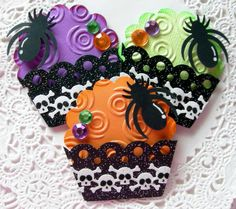 Halloween Paper Cupcake EmbellishmentsSet of 3 by sarasscrappin, $4.29