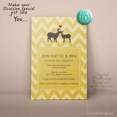 Buck & Doe 5x7 Wedding Invitation Card Photoshop by FUNTENTDESIGN Wedding Invitation Cards, Invites, Save The Date, Rsvp, Announcement, Chevron, Dream Wedding, Wedding Inspiration, Photoshop