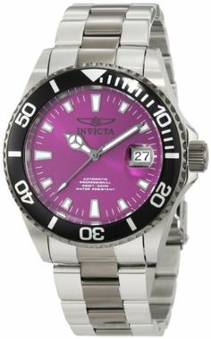 Invicta Men's 10497BLB Pro Diver Automatic Purple Dial Two Tone Stainless Steel Watch Invicta. $120.84. Water-resistant to 200 m (660 feet). Purple dial with gunmetal hands and hour markers; luminous; unidirectional gunmetal stainless steel bezel with black ring; screw-down gunmetal stainless steel crown; exhibition case back; large blue padded three slot box included. Precise 24 jewels japanese automatic movement. Flame-fusion crystal; brushed and polished stainless st...