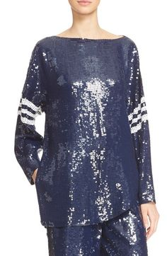 Tibi Sequin Silk Baseball Tee
