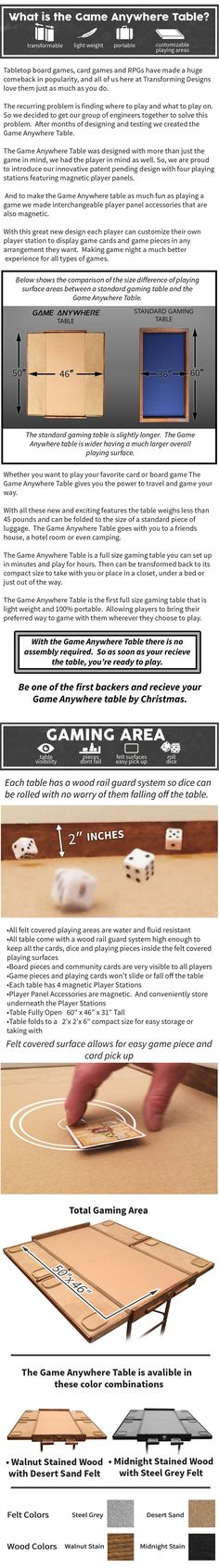 A customizatable gaming table, for the best gaming experience, portable, storable and lightweight, that can be taken anywhere