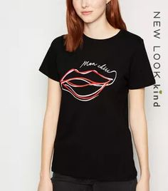 Black Sketch Lip Slogan T-shirt New Look - Slogan T Shirt - Ideas of Slogan T Shirt - Black Sketch Lip Slogan T-shirt New Look Fashion Slogans, Winter Shirts, Slogan Tshirt, Funny Fashion, Rock T Shirts, Well Dressed, New Look, Black Tops, Latest Trends