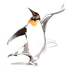 Dancing Penguin illustration by Katharine Asher. Represented by www.illustrationweb.com
