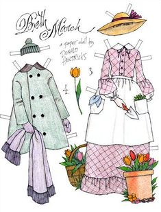 Little Women: Beth March* 1500 free paper dolls international artist Arielle Gabriel's The Internatonal Paper Doll Society for paper doll pals at Pinterest *