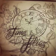 Clock Tattoo Sketch - Love this; set the time for a specific event.. your birth, child's birth etc. Would love to add something like this in my next collage piece