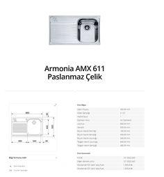 Armonia AMX 611 Paslanmaz Çelik franke  franke Armonia AMX 611 Paslanmaz Çelik