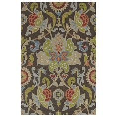 Indoor/ Outdoor Fiesta Brown Flower Rug (3' x 5') - 16051218 - Overstock Shopping - Great Deals on 3x5 - 4x6 Rugs