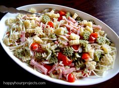Easy Pasta Salad-use fun shapes of pasta for a seaonal/holiday twist.