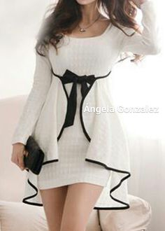 Shop Korean Style White Round Neck Long Sleeve Short Day Dress on sale at Tidestore with trendy design and good price. Come and find more fashion Short Day Dresses here. Elegant Dresses, Pretty Dresses, Beautiful Dresses, Casual Dresses, Short Dresses, Day Dresses, Dress Outfits, Fashion Dresses, Dress Up