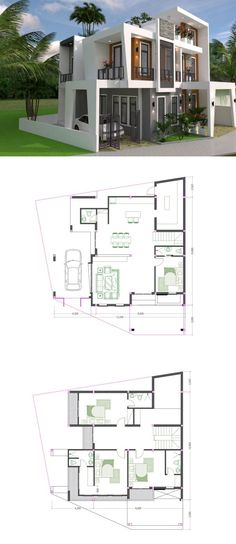 Two-Storey Modern House Plan With Four Bedrooms And Five Bathrooms - Cool House Concepts 3 Room House Plan, 2 Bedroom House Plans, House Layout Plans, House Layouts, Story House, Two Storey House Plans, Two Story Homes, Living Spaces, Bedrooms
