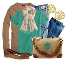 Tan & Teal by qtpiekelso on Polyvore featuring J.Crew, Just Cavalli and Twelfth Street by Cynthia Vincent