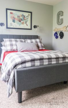 Updated teen room for boys. Guys room ideas that combines timeless and trendy.