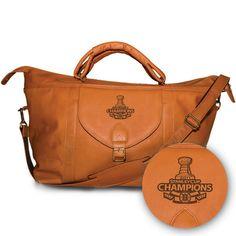 Pangea Tan Leather Top Zip Travel Bag - Stanley Cup Champions Boston Bruins