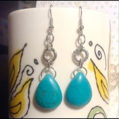 Blue magnesite earrings Blue magnesite teardrops in silver plate with French hooks. Sayre Jewelry Earrings