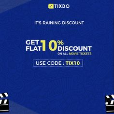 Now get Flat 10% Off on movie tickets. Use TIX10 and go easy on your wallet. Visit www.tixdo.com  #movies #films #bollywood #discounts Movie Tickets, All Movies, Bollywood, Films, Cinema, Wallet, Music, Easy, Books