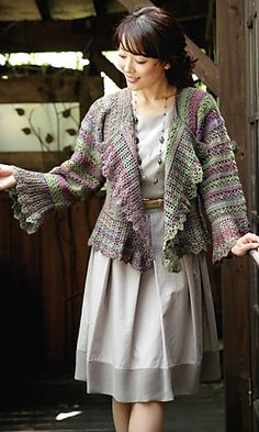 Yuyake Ruffle Cardigan by Pierrot (Gosyo Co., Ltd). The free schematic/pattern in English is here: http://gosyo.co.jp/english/pattern/eHTML/ePDF/1310/213fw-15_Yuyake_Ruffle_Cardigan.pdf