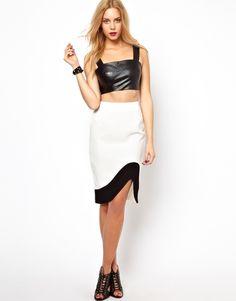 { Lavish Alice Pencil Skirt With Uneven Hem }