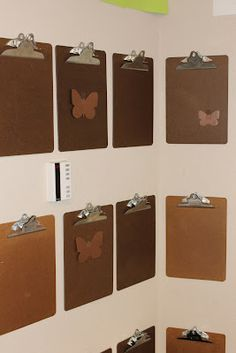 Store clipboards by hanging them on a push pin. Students could display work and easily change it themselves.