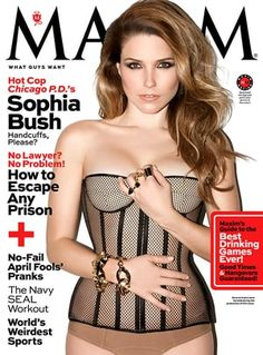 Sophia Bush smolders on the cover of Maxim's April 2014 issue wearing nothing but a sexy mesh corset