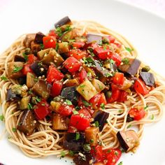 Try this healthy recipe for Eggplant Pomodoro Pasta. Diced eggplant turns tender and tasty sautéed with garlic and olive oil. Toss with fresh plum tomatoes, green olives and capers and you have a simple light summer sauce. Pastas Recipes, Diet Recipes, Vegetarian Recipes, Cooking Recipes, Healthy Recipes, Recipes Dinner, Vegetable Recipes, Easy Recipes, Budget Cooking