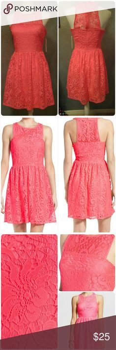 Juniors' Speechless Illusion Lace Skater Dress Speechless Junior's Large Neon Pinkish/Coral. From Belk Department Store.  The 3rd photo is a stock photo.   The actual color is closer to the other photos.   I purchased to wear to an 80s night so there is a neon vibe to the dress.   The color may differ per monitors so if the Exact COLOR would be hard to picture.  The first picture would be most appropriate.     Fit and flare with lace over lay.   100% polyester.    :) Speechless Dresses Mini