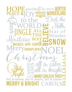 Beautiful Christmas Subway Art Free Printable. Three colors to choose from. Print at home or on a canvas, perfect for your holiday home decor!