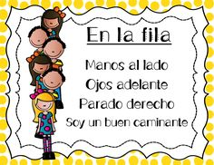 Caminando en fila - Spanish classroom management poems for lining up