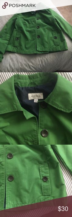 Merona jacket Green size small. A bit brighter than the pictures. Navy blue lining. Cute slit in the back. Brown buttons. Like new condition. Merona Jackets & Coats