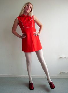 Vintage 60s Red Mod A-Line Mini Dress XS S by HitMeBoutique